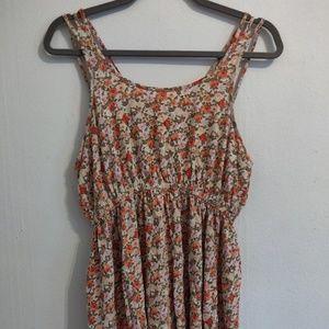 strappy back floral shirt dress